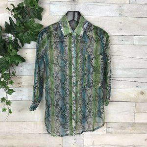 Lucy Paris Green Blue Snake Reptile Print Blouse S